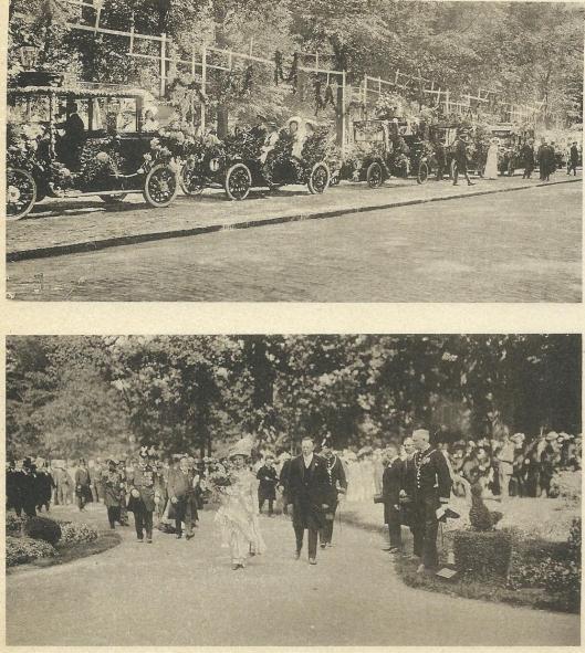 Boven: bloemencorso in Haarlem 1910 en onder bezoek van koningin Wilhelmina en prins Hendrik aan de bloemententoonstelling in de Haarlemmerhout.