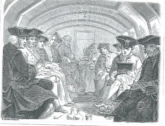 'In de trekschuit' door E.Vermorcken. Uit: De Oude Tijd, 1871.