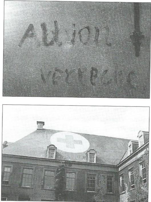 Boven: tijdens de Hongerwinter van 1944-1945 zijn veel bomen rond Hageveld gekapt. Op de achterwand van de grote slaapzaal schreef een gedesillusioneerde Duitser: 'Albion verrecke'. Onder: Ter voorkoming van bombardementen door de geallieerden was op het dak een groot rood kruis geschilderd.