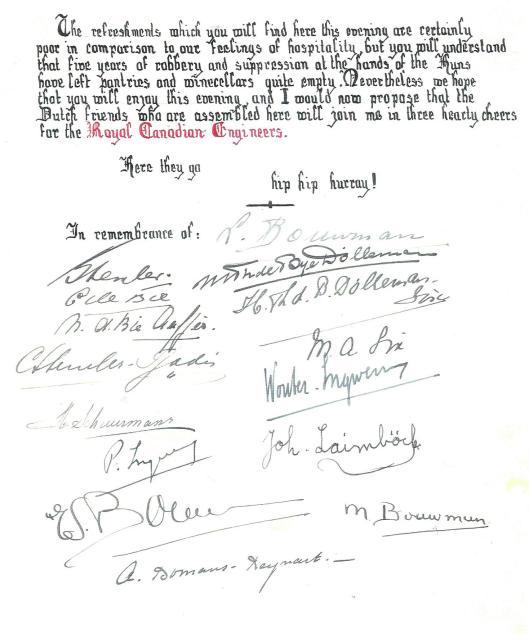 Slot van op 15 mei 1945 door de bewoners van huize HBerkenrode aan de Herenweg uitgereikte oorkondeaan de op 8 mei in Heemstede-Berkenrode gearriveerde bevrijders uit Canda, de 3rd Field Company, Royal Canadian Engineers, onder leiding van majoor W.J.Milhausen uit North York, Ontario.