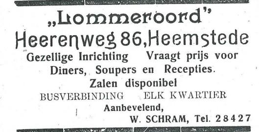 Advertentie van 'Lommeroord' uit 1927 toen W.Schram uitbater was