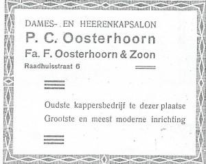 Advertentie kapsalon P.C.Oosterhoorn uit adresboek 1939