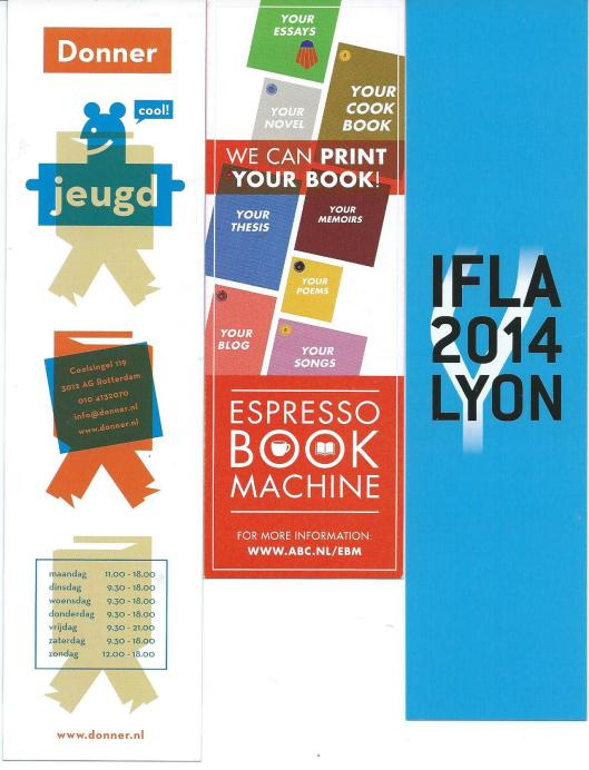 V.l.n.r.: Boekhandel Donner in Rotterdam, ABC (American Book Centre) Amsterdam, bladwijzer van IFLA n.a.v. World Library and Information Congress, 80th IFLA General Conference and Assembly 12-22 August 2014 Lyon
