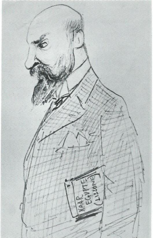 Cartoontekening van Jan Krol Kzn. Was o.a. agent van de Nederlandsche Handel Maatschappij te Semarang en sinds 1882 woonachtig in Haarlem. Was lid van de gemeenteraad. Onder de arm een boek met de titel 'Naar Egypte (Lissone)'.