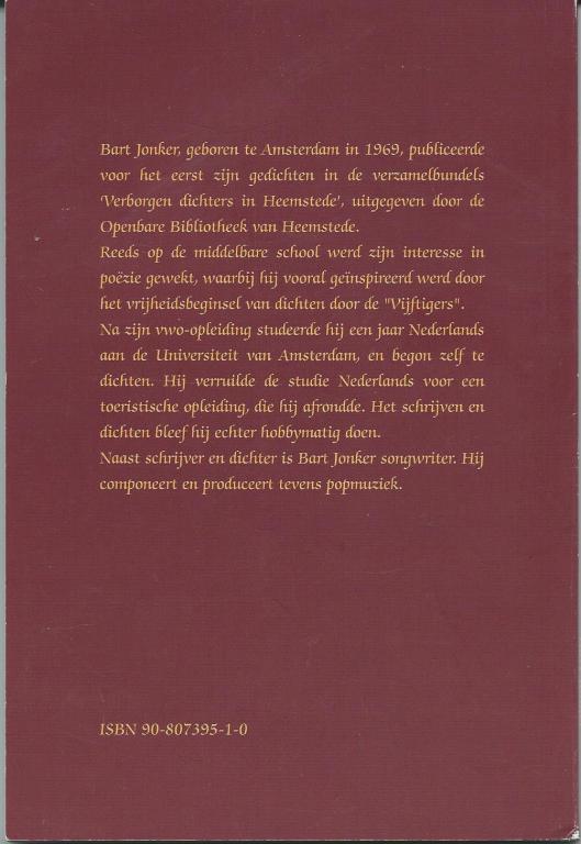 Achterzijde van dichtbundel 'Onvoltooid verlangen' door Bart Jonker (2002)