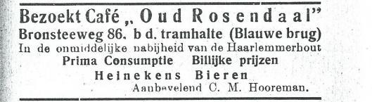 Advertentie van café Oud Rosendaal uit adresboek Heemstede 1927