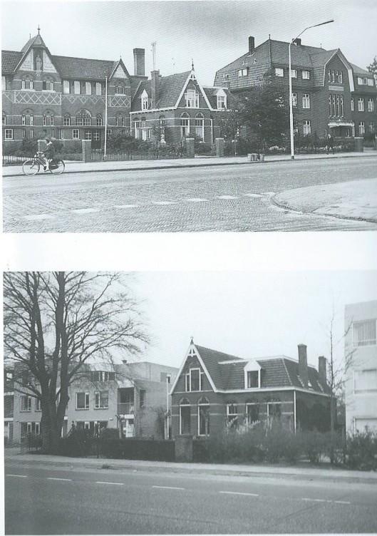 Boven: de in 1904 gebouwde St.Jozefschool aan de Herenweg, tegenover de Oude Posthuisstraat, was de eerste katholieke jongensschool in Heemstede. Rechts daarvan staat de woning van het eerste hoofd van de school, de heer D. Pronk, en daar weer maast het Broederhuis van de Broeders van J.B.de la Salle. Onder: enkel de vroegere woning van het schoolhoofd, Herenweg 103, hield door de jaren heen stand. Nu staat het huis temidden van moderne gebouwen.