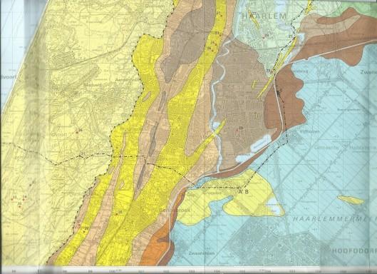 Geologische kaart van Heemstede en omgeving. [Geel = strandwallen]