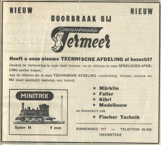 Advertentie uit 1969 van speelgoedmagazijn Termeer, Binnenweg 117 Heemstede