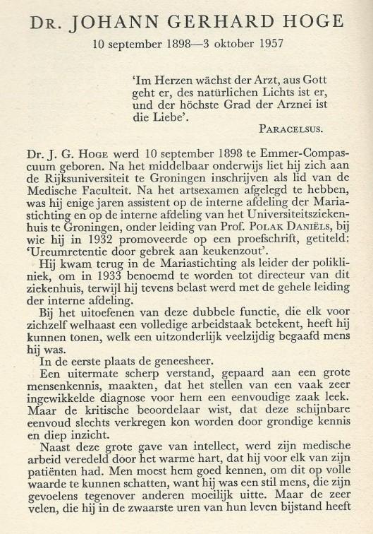 Necrologie dr. J.G.H.Hoge (1898-1957) door C.G.J.von Winning. Uit: Jaarboek Haerlem 1957. 1959, p. 48-49.