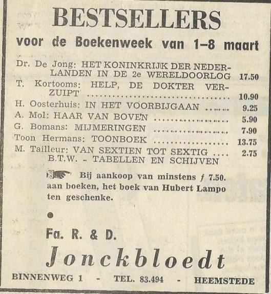 Advertentie uit 1969 van firma R. & D.Jonckbloedt
