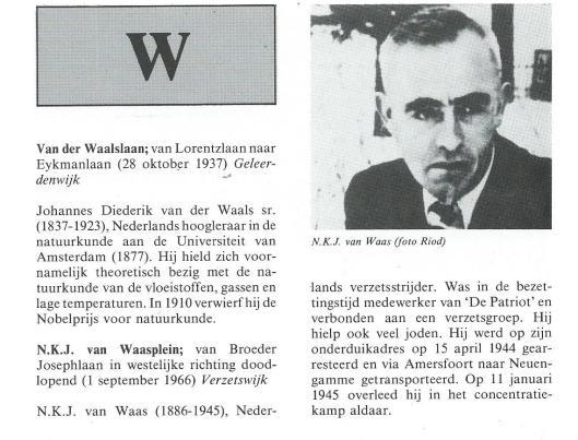 N.K.J.van Waasplein. Uit: Geschiedenis en verklaring van de straatnamen in Heemstede. 1985