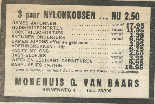 Advertentie uit 1969 van modehuis G.van Baars, Binnenweg 4 Heemstede