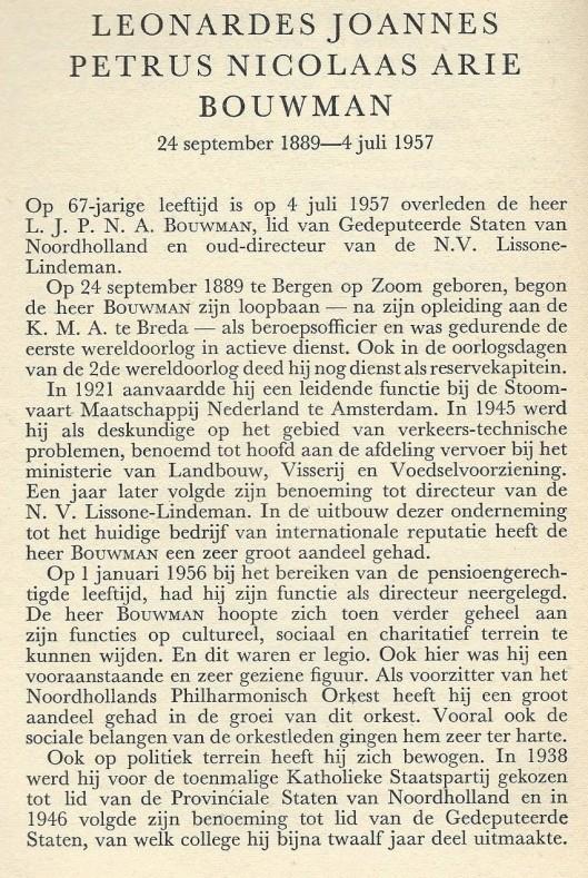 Necrologie L.J.P.N.A.Bouwman (1889-1957) door mr. A.Diepenbrock, pr. Uit: Haerlem Jaarboek 1957. 1958, p.40-41.