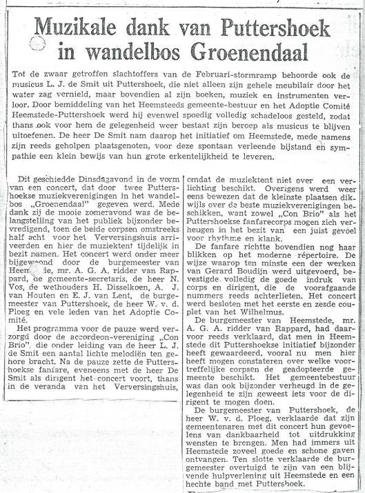 Puttershoek dankt Heemstede muzikaal in wandelbos Groenendaal (Oprechte Haarlemsche Courant van 22 juli 1953)