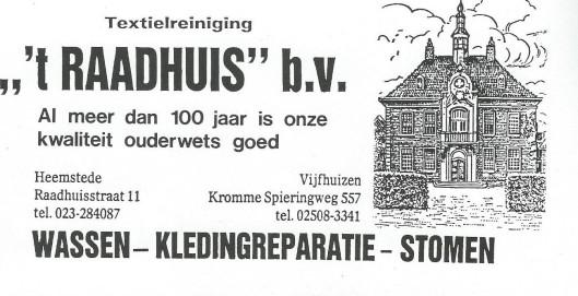 Advertentie van textielreiniging 't Raadhuis uit 1986