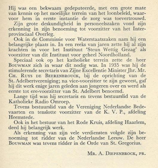 Vervolg van necrologie L.Bouwman (1889-1957) door mr.A.Diepenbrock, pr.