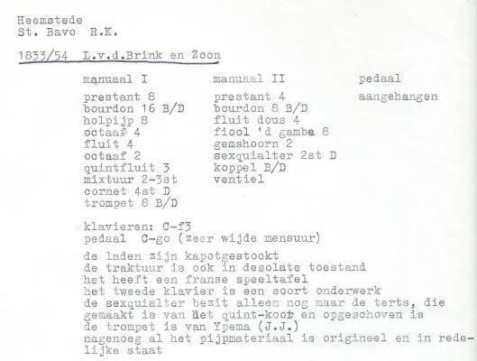 Informatie orgel van L.v.d.Brink & Zn. in de H.Bavokerk Heemstede