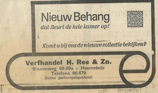 Advertentie van verfhandel Ree uit 1969