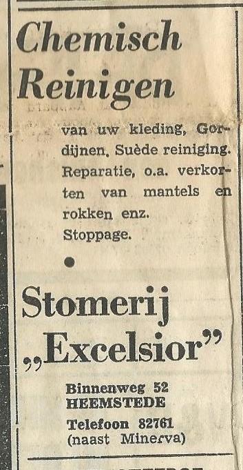 Advertentie uit 1969 van stomerij Excelsior, Binnenweg 52 Heemstede