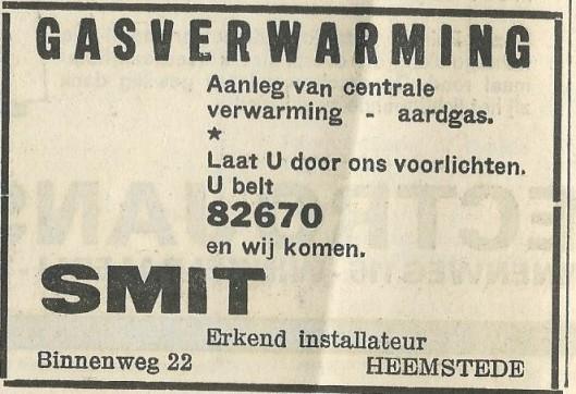 Advertentie uit 1969 van Smit: gasverwarming, Binnenweg 22 Heemstede