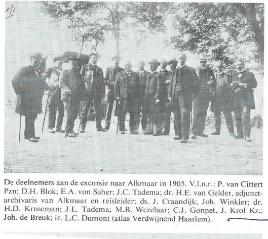 Deelnemers van een excursie van de Vereeniging Haerlem naar Alkmaar in 1905 met o.a. J.Krol Kzn