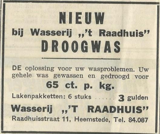 Advertentie uit 1969 van wasserij 't Raadhuis