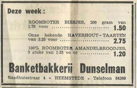 Advertentie uit 1969 van banketbakkerij Dunselman, Raadhuisstraat 4 Heemstede