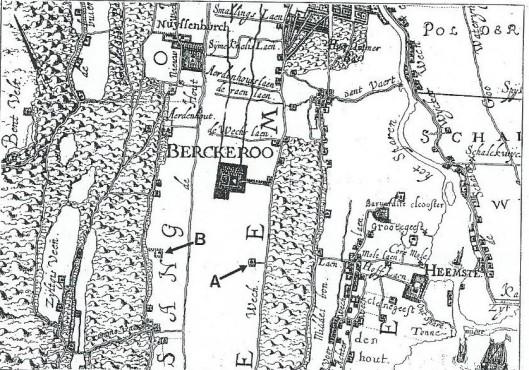 Detail kaart uit 1613-1615 met laan vanaf de Herenweg naar de Voorkoekoek (=A) en richting Aerdenhout Achterkoekoek (= B). (Uit: Raap-rapport)