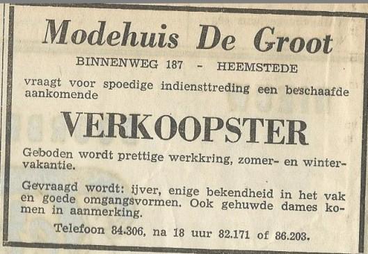 Advertentie uit de Heemsteedse Courant van Modehuis De Groot, Binnenweg 187 Heemstede