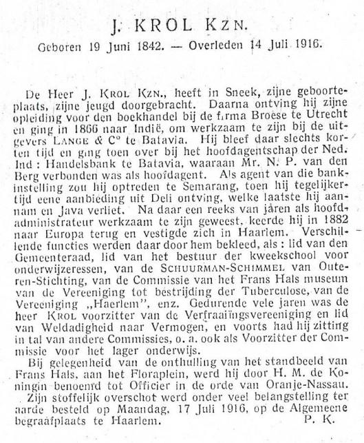 Necrologie van J.Krol Kzn, verschenen in Jaarboekje voor de stad Haarlem voor 1917.