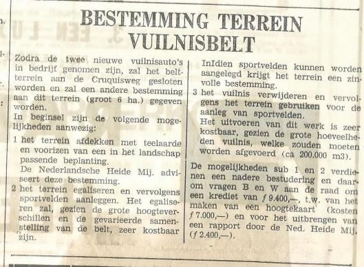 Bericht over sluiting van de vuilnisbelt uit de Heemsteedse Courant van 27 februari 1969