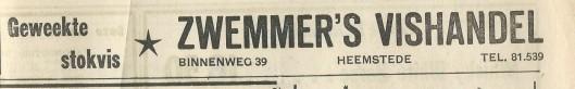 Advertentie uit 1969 van Zwemmer's Vishandel, Binnenweg 39 Heemstede