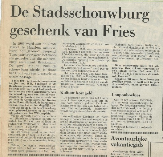 Artikel uit Haarlems Weekblad van 26 oktober 1983 over schenking van stadsschouwburg door de geboren Fries Jan Krol.