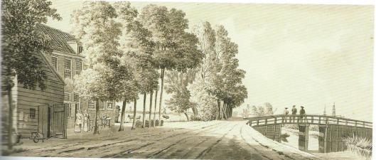 De herberg 't Schouwtje nabij de Schouwtjesbrug, de vroegere grens van Haarlem en Heemstede. Tekening door Hermanus Petrus Schouten, 1780 (Noord-Hollands Archief)