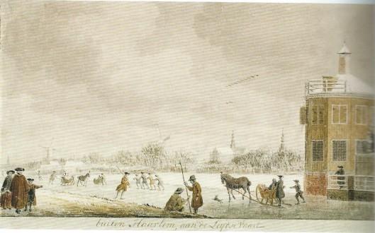 IJsvermaak op de Leidsevaart. Gezicht op Haarlem nabij buitenplaats Zwanenburg door Cornelis van Noorde, 1767. Later was hier de kwekerij van de firma Van Tubergen.