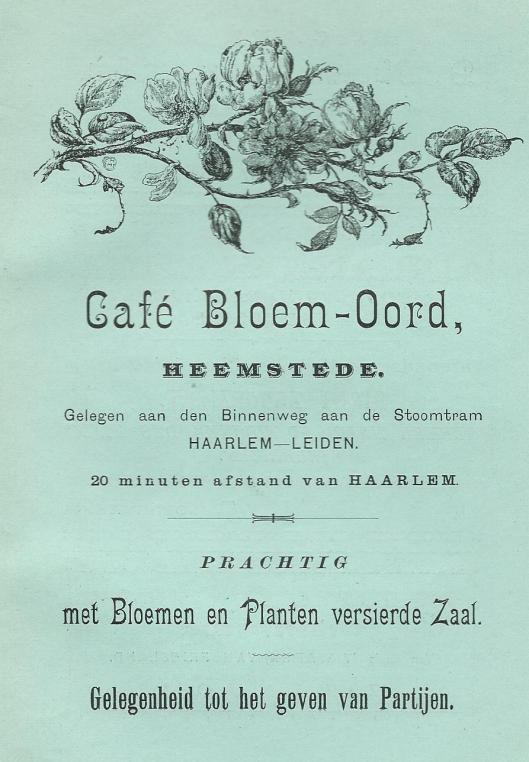 Advertentie van café Bloem-Oord uit 1897