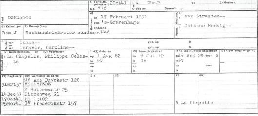 Kaart Johanna Hedwig van Straaten uit bevolkingsregister Heemstede