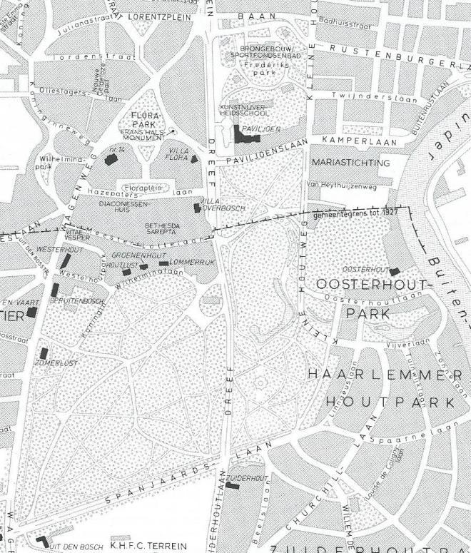 Situering van o.a. Houtlust, Groenenhout en Lommerrijk (tekening door Paul Marselje, 1984)