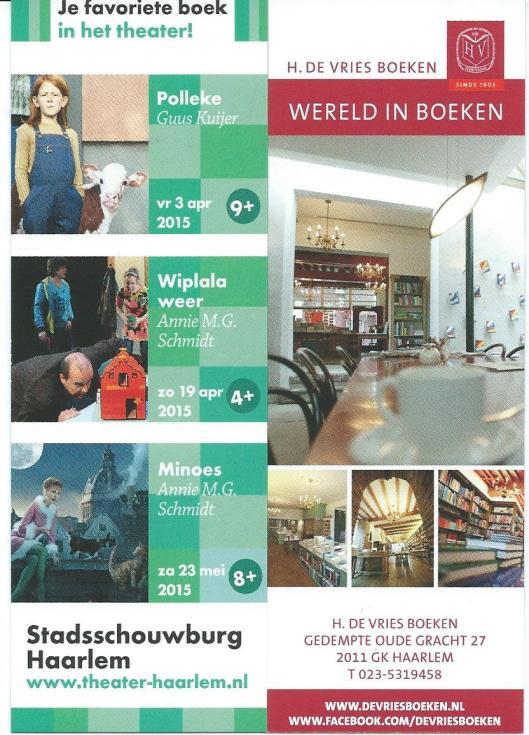Links boekenlegger Stadsschouwburg Haarlem, rechts H.de Vries Boeken in Haarlem.