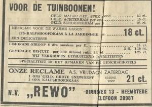 Adv. 'Rewo', Binnenweg 13, Heemstrede (1939)