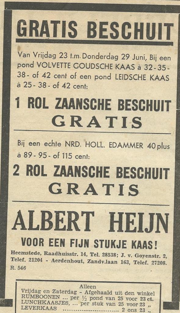 Advertentie uit 1939 van Albert Heijn, Raadhuisstraat 14 Heemstede
