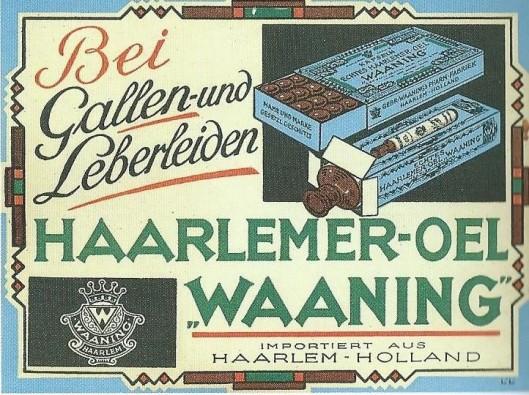 Duitstalige reclame voor Haarlemmerolie van Waaning