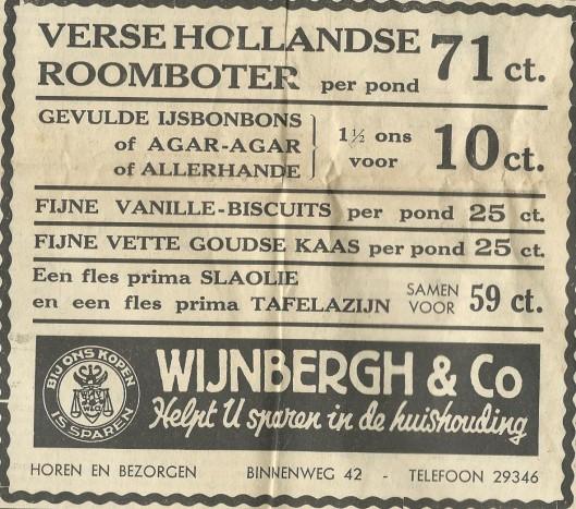 Adv. filiaal Wijnbergh & Co, Binnenweg 42, uit 1939