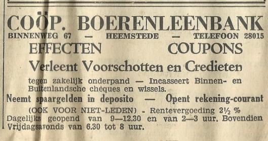 Boerenleenbank, Binnenweg 67 Heemstede (1939)