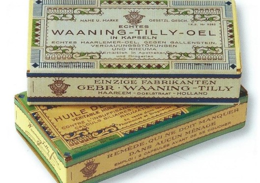 Verpakking voor de Duitse en Franse markt van Haarlemmerolie Waaning-Tilly