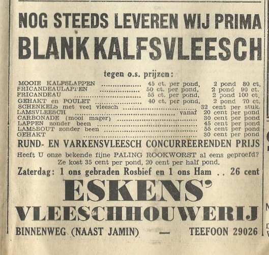 Adv. slagerij Eskens, naast Jamin, uit 1939