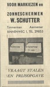 Adv. timmerbedrijf A.Schutter, Binnenweg 1, uit 1939