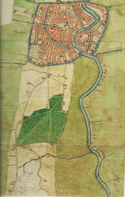 Kaart van Haarlem en omgeving door Jacob van Deventer uit circa 1560. Schaal 1:8750. Ten zuiden van de stad de Haarlemmerhout en ten zuiden daarvan de 'wildernisse' van Heemstede. Oostelijk het Spaarne met bebouwing aan de oostzijde