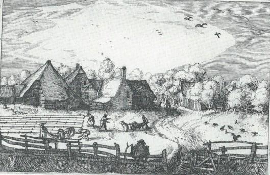 'Blekeryen door den Houdt', blekerijen voor de Hout. Ets van Claes Janszoon Visscher.